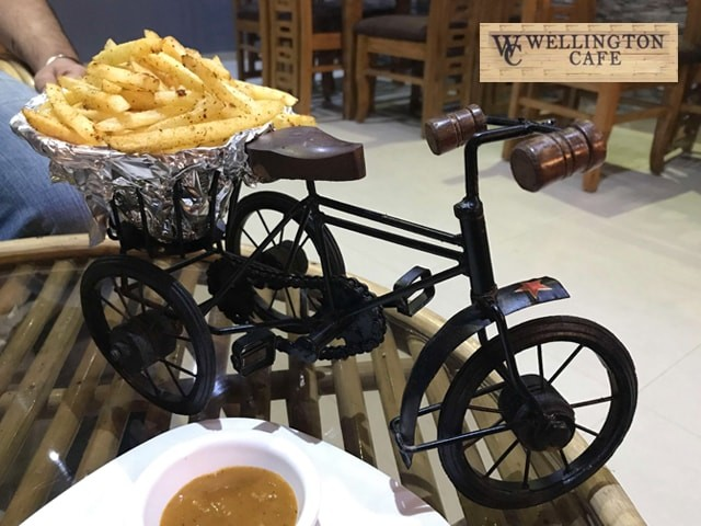 Wellington Cafe-Get 1 Zibibo Veg Burger + 1 Portion of Fries + 1 Salad + 1 Virgin Mojito Rs. 125 Only