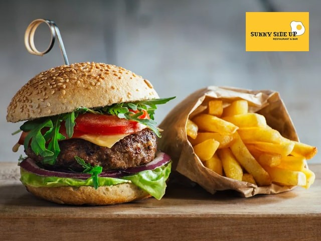 Sunny Side Up Jalandhar -Non Veg  Burger + French Fries + Coke in Rs.199 Only