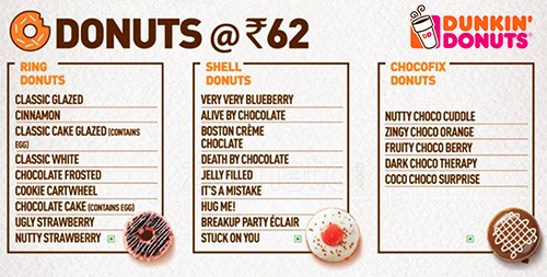 dunkin menu india
