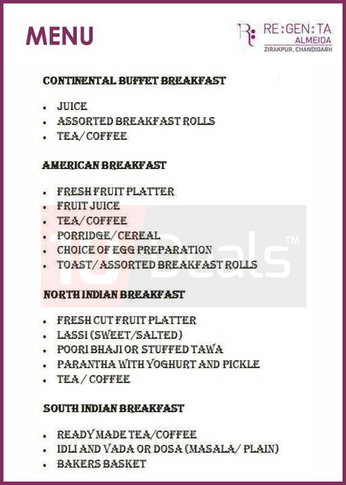 Amazing Regenta Almeida Zirakpur Enjoy Breakfast Buffet In Just Rs Download Free Architecture Designs Photstoregrimeyleaguecom